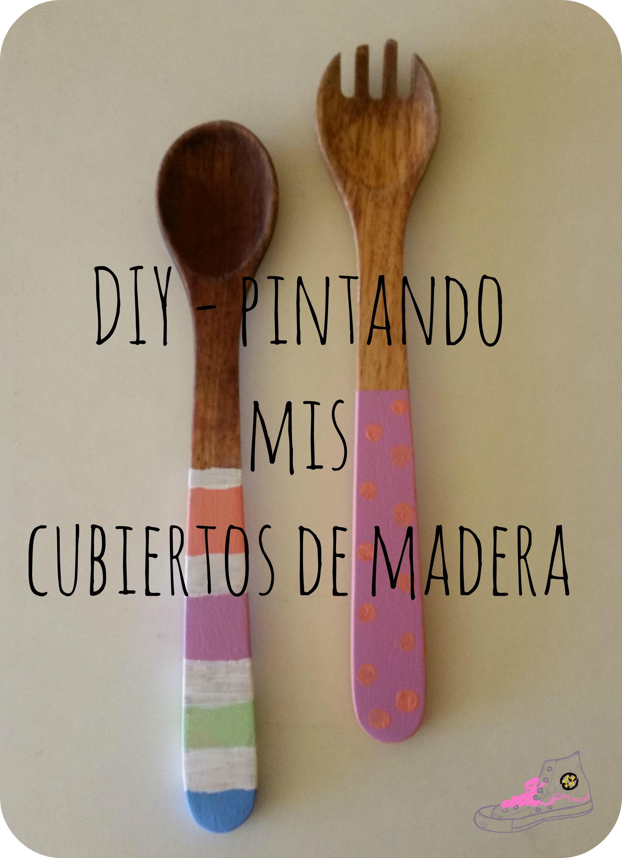 pintando mis cubiertos de madera