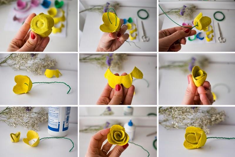 DiariodecoSpring: Diy flores con hueveras de cartón7