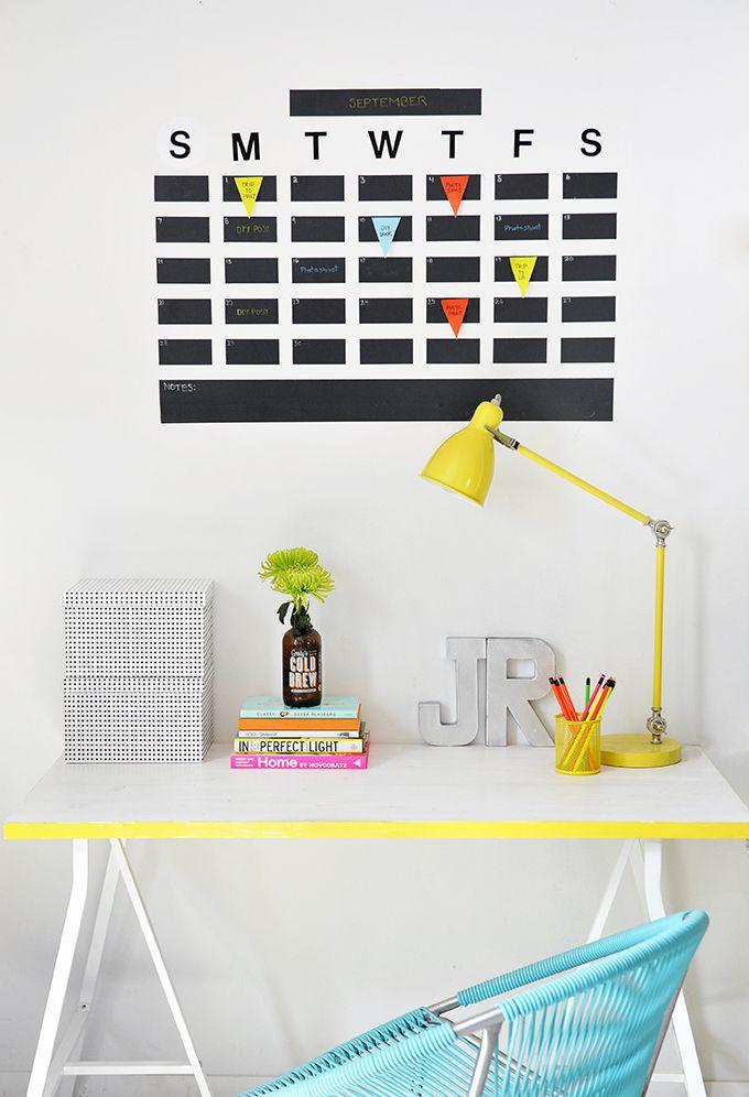 DIY: chalkboard tape wall calendar