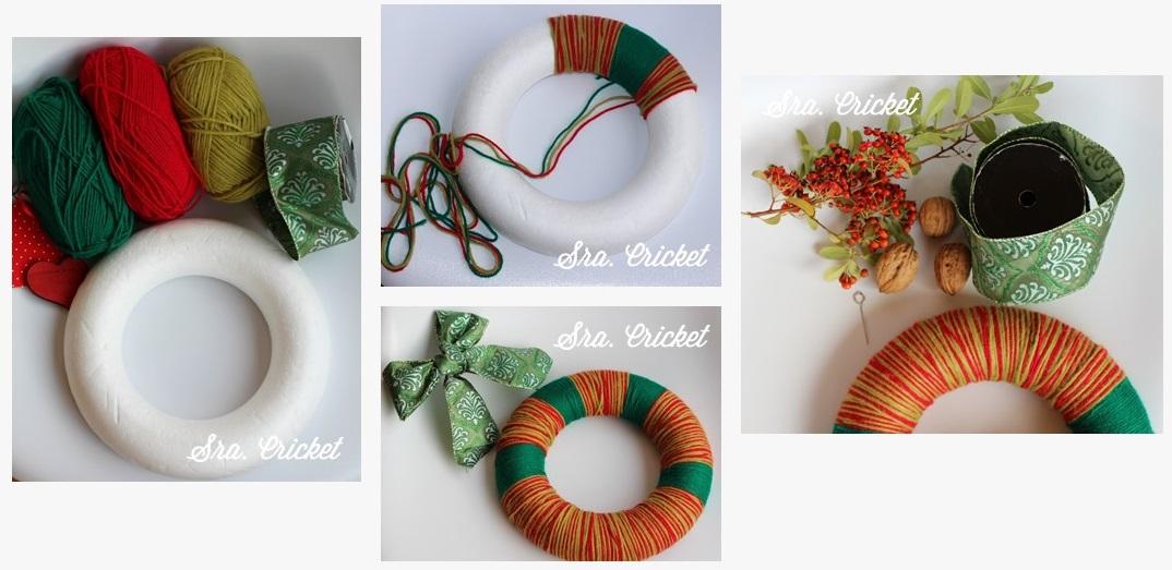 corona de navidad DIY tutorial corona de lana