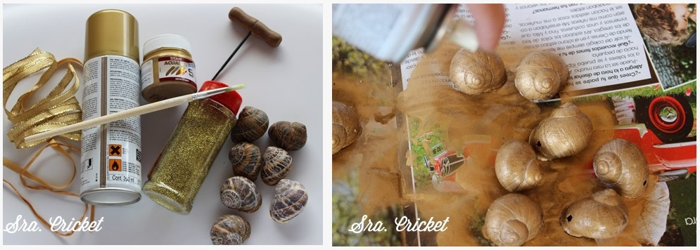 manualidad navideña: adornos concha de caracol 2