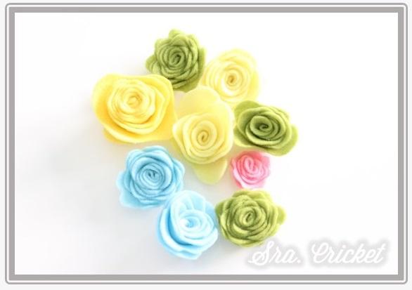 rosas corona flores de fieltro