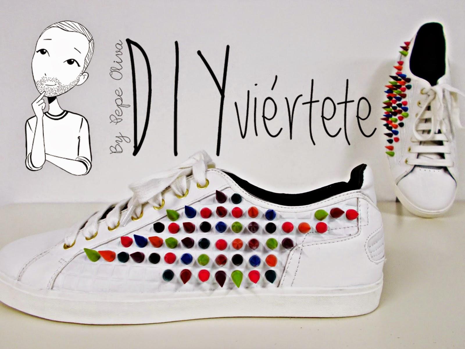 DIY-zapatillas-tunear-customizar-CHRISTIAN-LOUBOUTIN-zapatos-pinchos-esmaltes-pinta uñas-colores-2