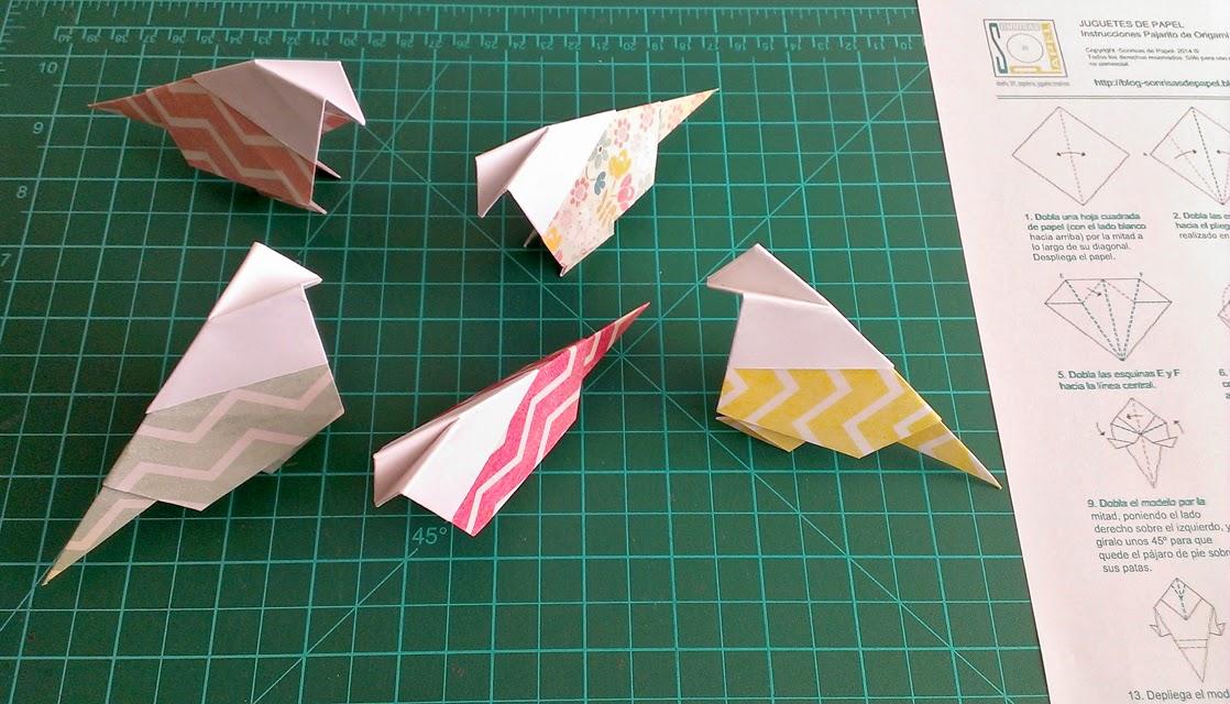 pajaritos de papel plegados