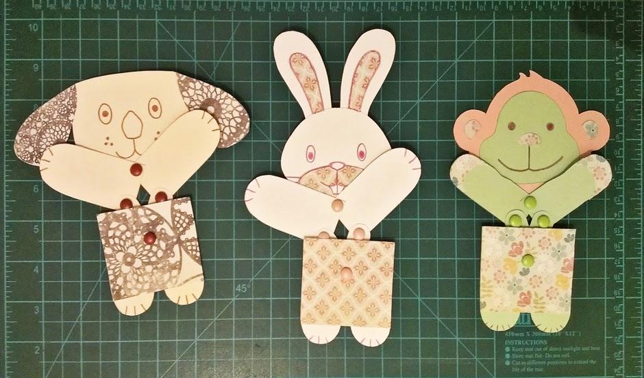 juguetes de papel articulados - perro, conejo y mono
