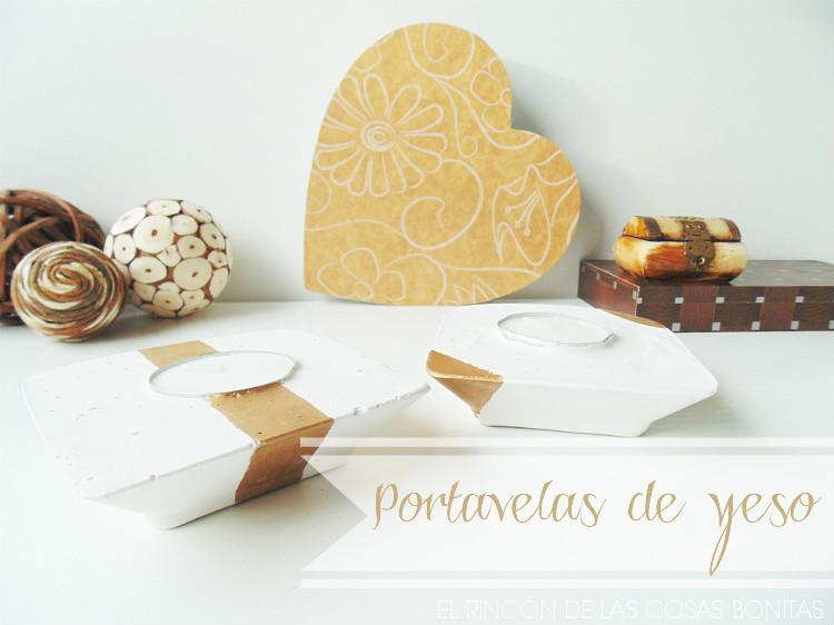portavelas de escayolas decorados en dorado
