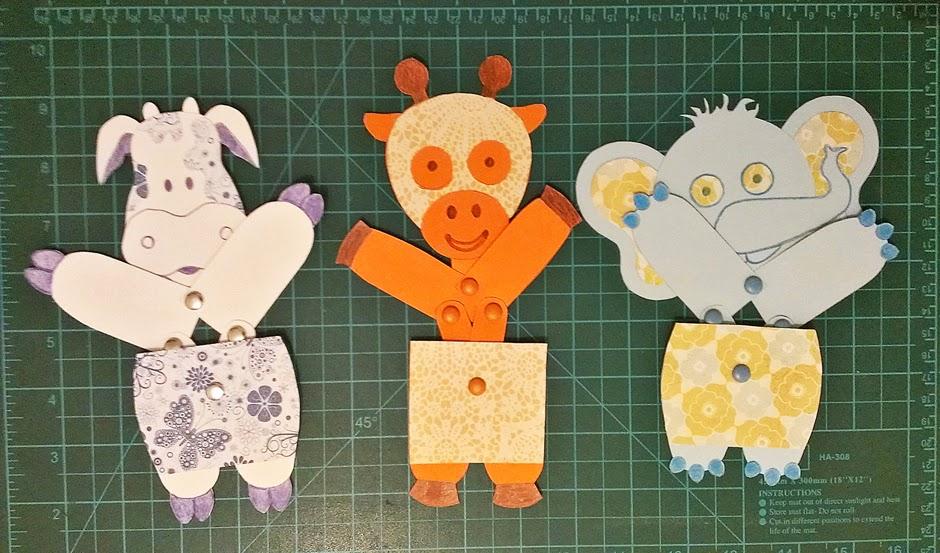 juguetes de papel articulados - vaca, jirafa y elefante