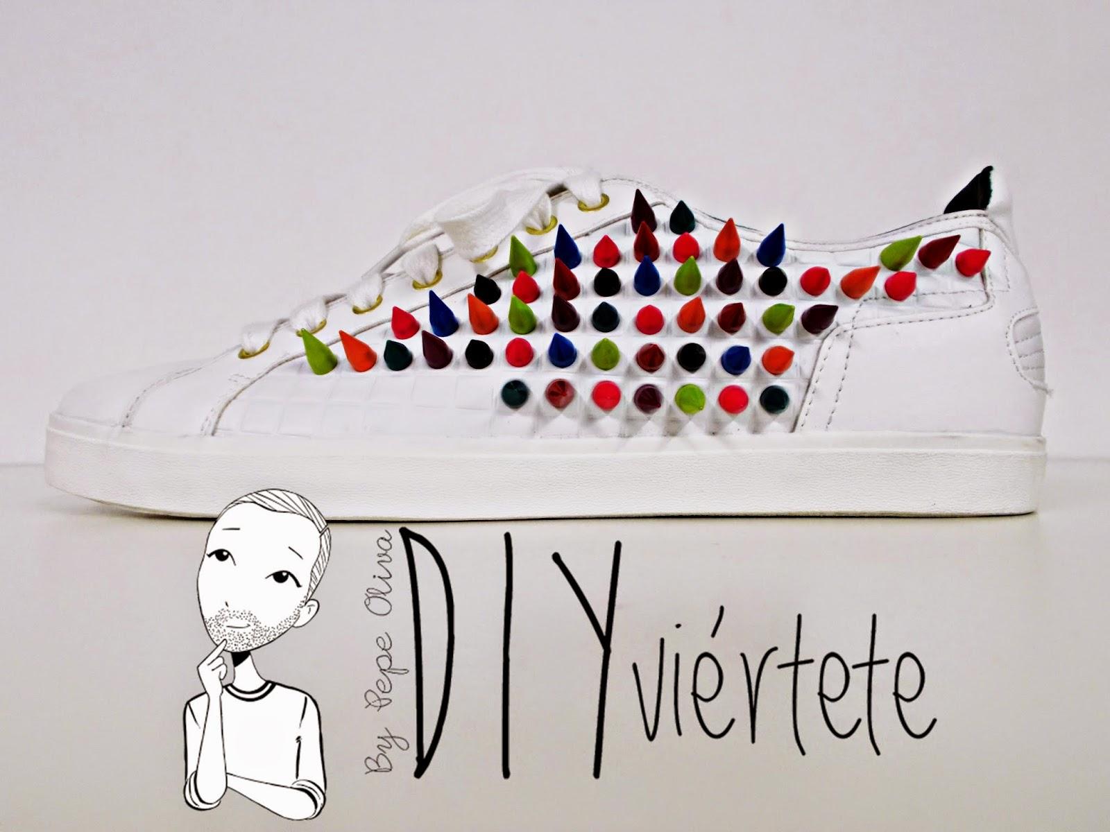 DIY-zapatillas-tunear-customizar-CHRISTIAN-LOUBOUTIN-zapatos-pinchos-esmaltes-pinta uñas-colores-15