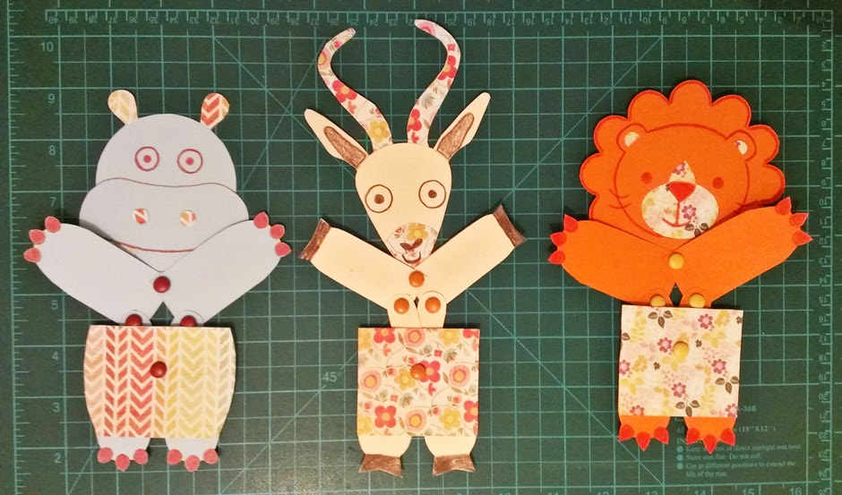 juguetes de papel articulados - hipopótamo, gacela y león