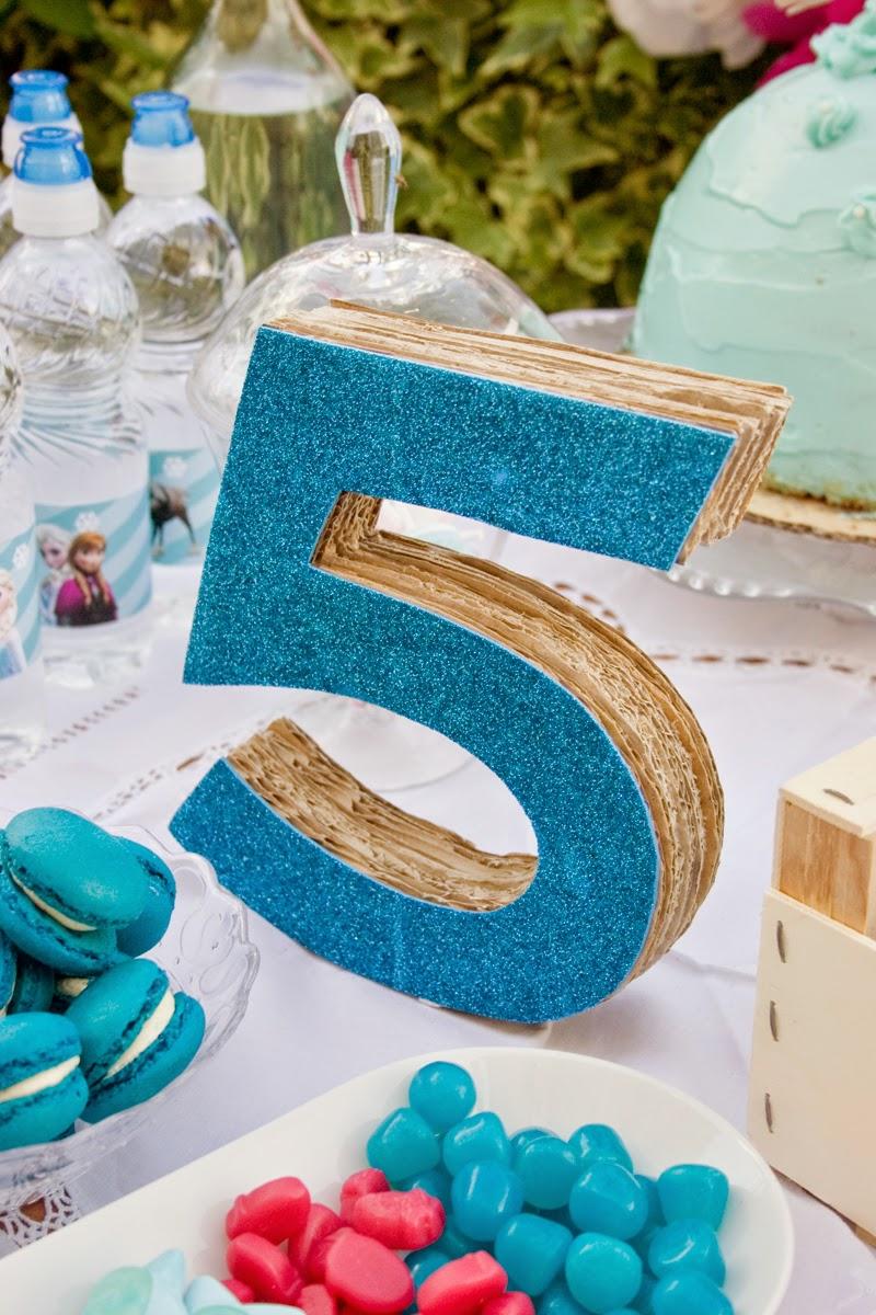 Diy número 5 en 3d con cartón para cumpleaños Frozen6