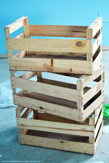 Cajas de madera apiladas