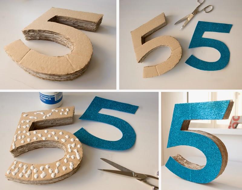 Diy número 5 en 3d con cartón para cumpleaños Frozen3