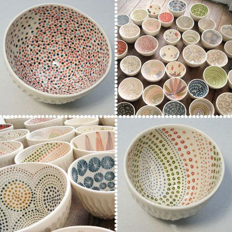 Textured outside.  Shiny white.  Dots inside using brush on glaze over shiny white.