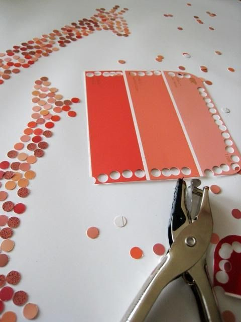 paint chips + hole punch + glue  @Malia Littlefield Littlefield Littlefield Littlefield Littlefield Amling know any RA