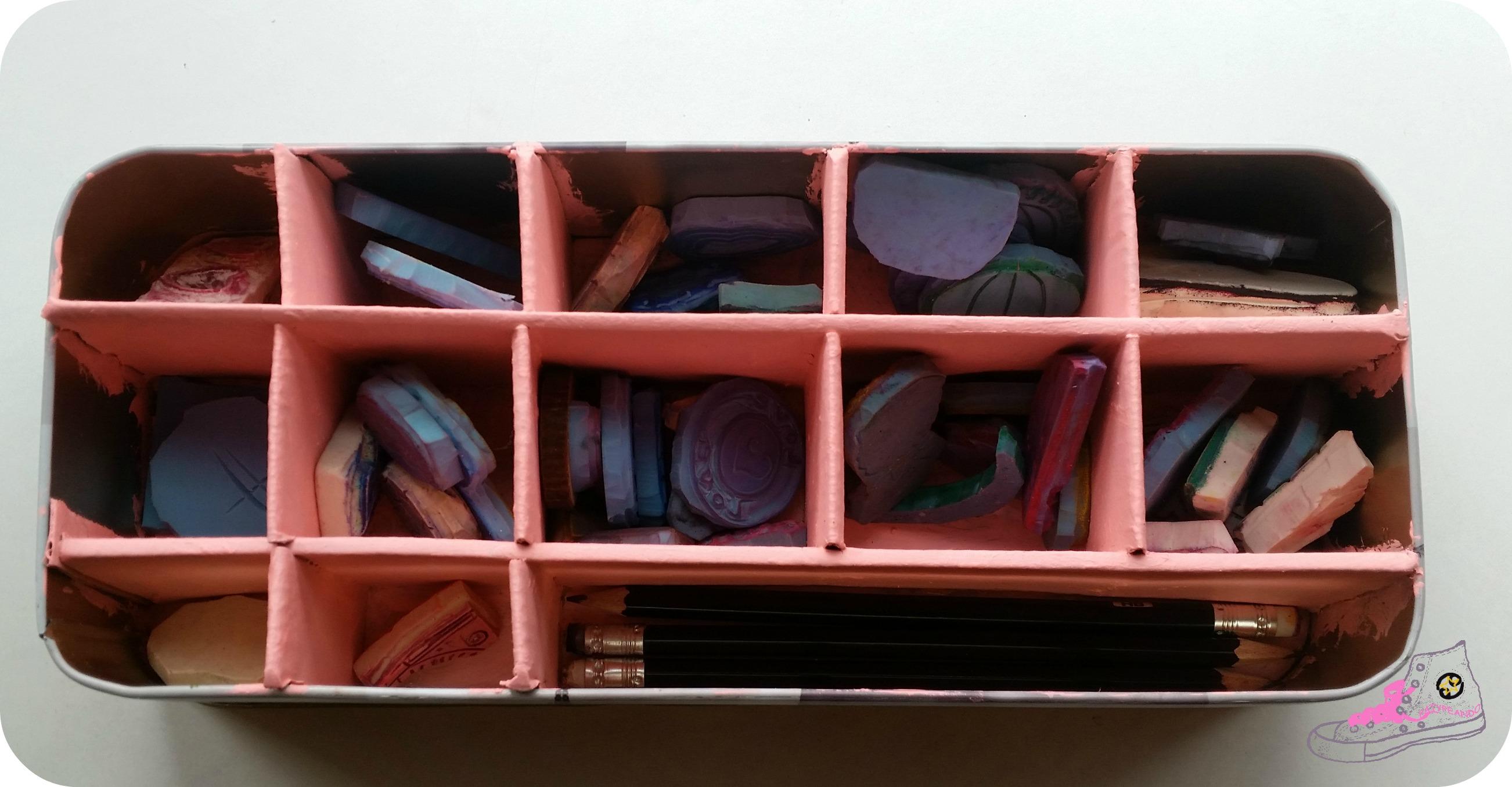 caja de galletas organizador de sellos