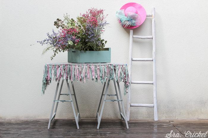 flecos de tela pintada con chalk paint