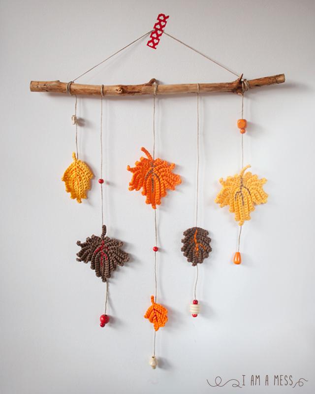 Colgante de hojas de ganchillo - Handbox Craft Lovers | Comunidad ...
