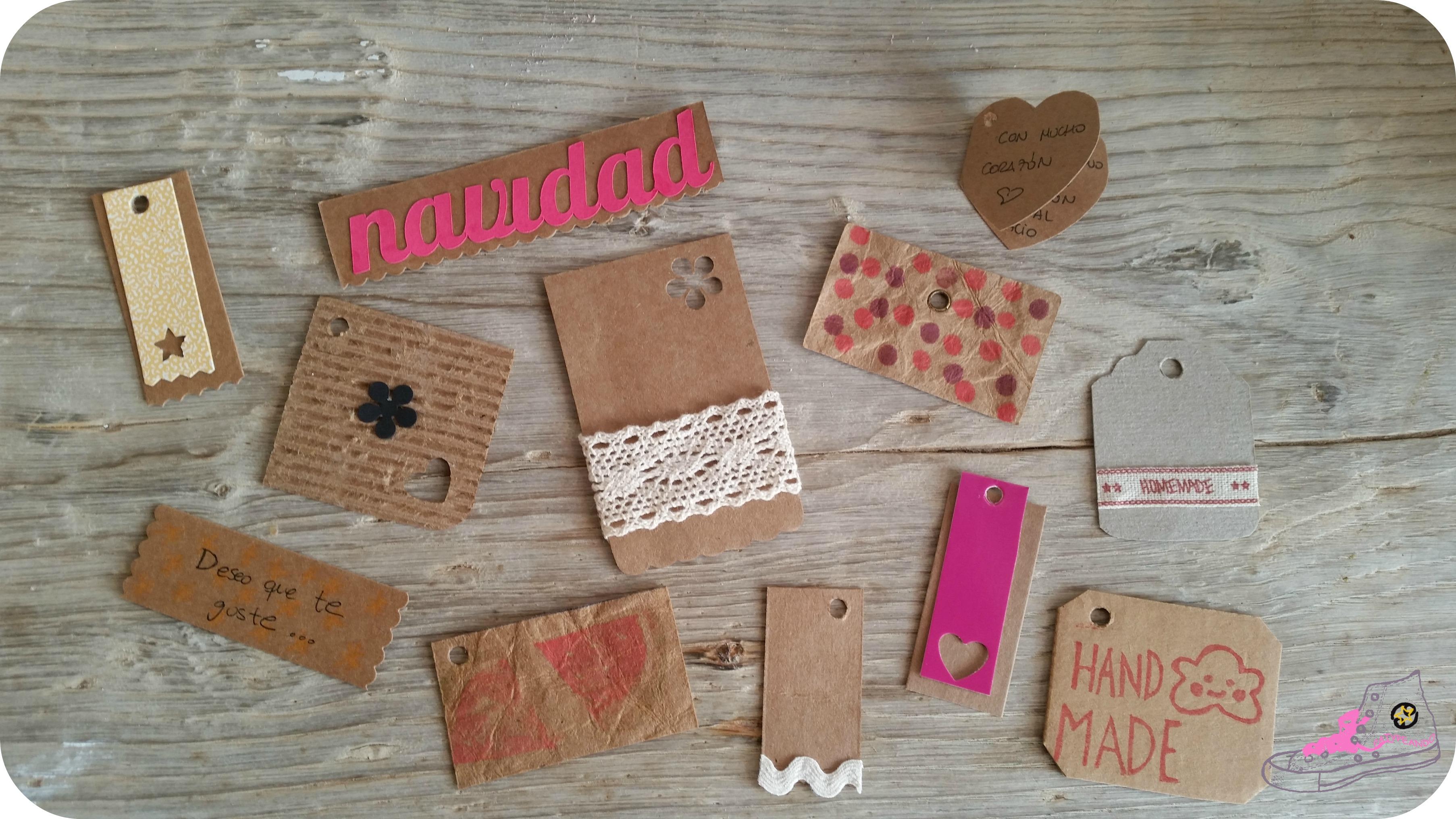 etiquetas diy con papel craft