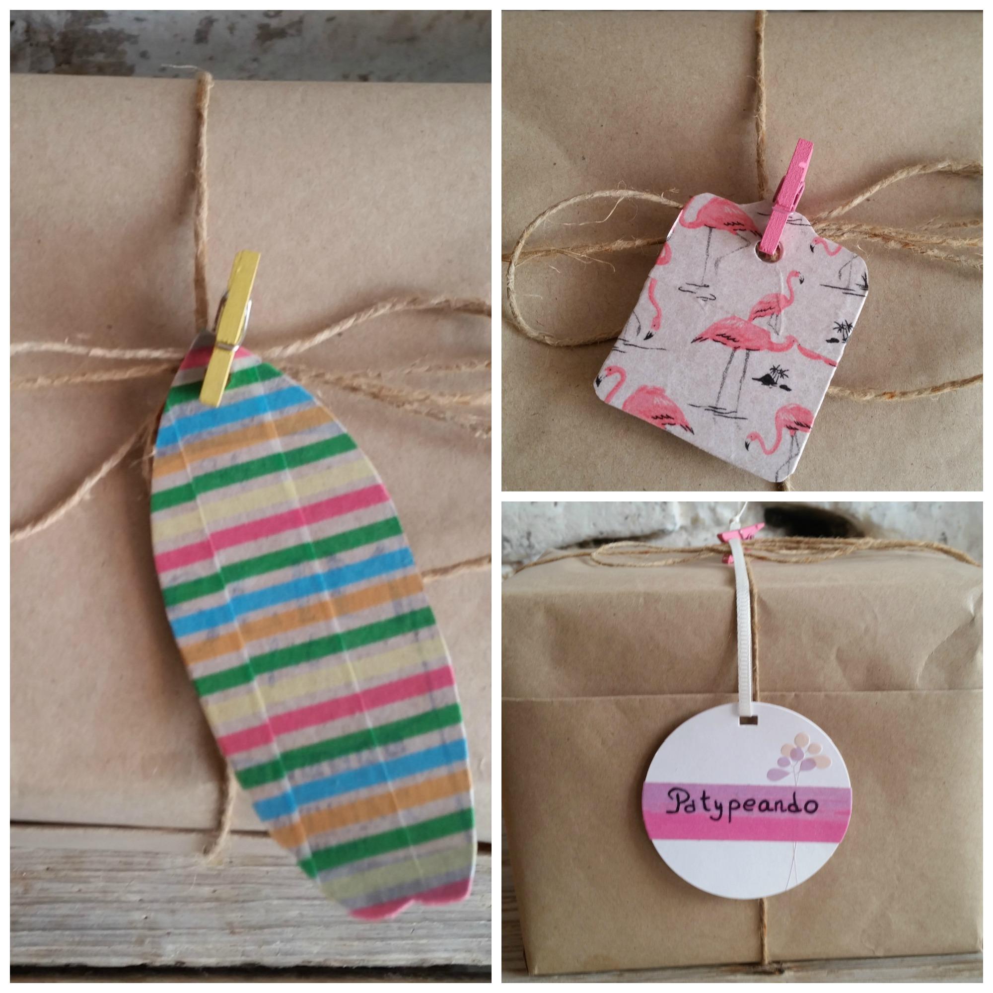 packaging con etiquetas de washi