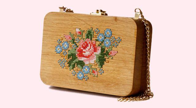 cross stitch on wooden bag