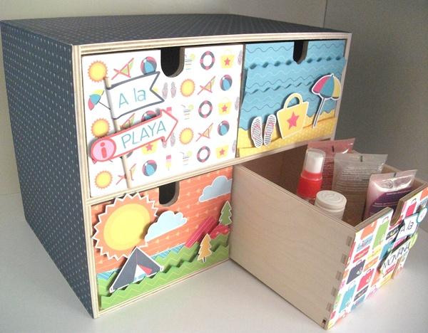 Como Decorar Una Cajonera De Madera Con Papel Scrap Handbox Craft - Como-decorar-madera