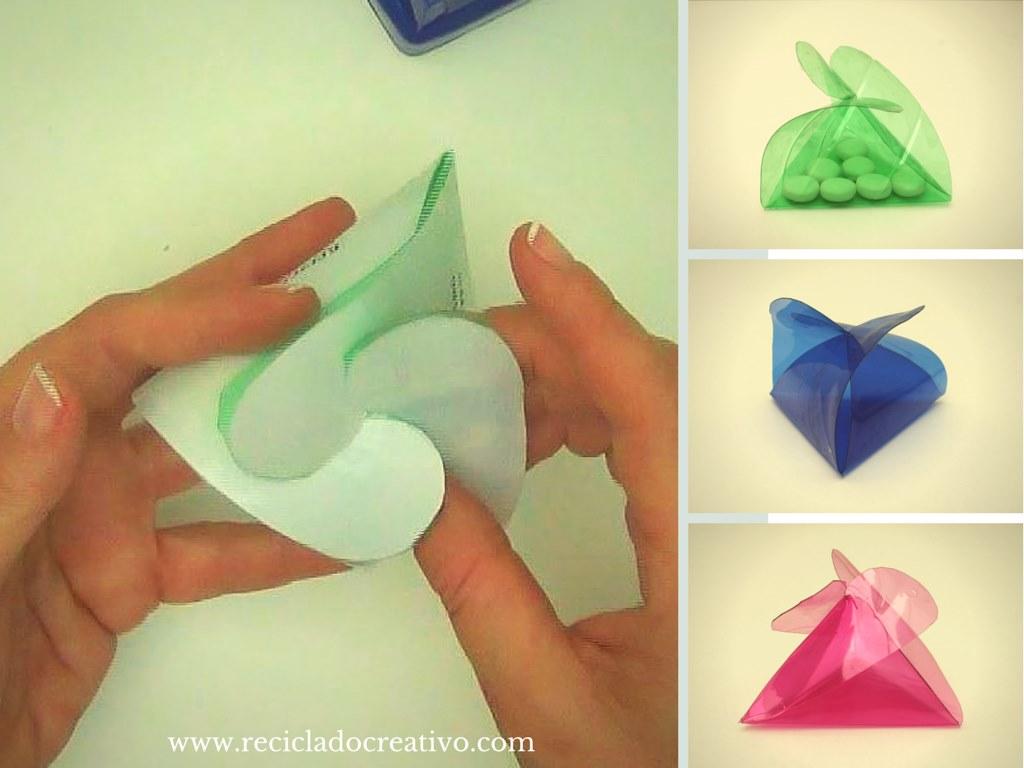 Caja de regalo triangular realizada reciclando una botella de ...