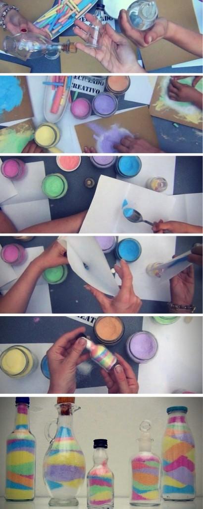 reutilizando botellas de cristal con tizas de colores (1)