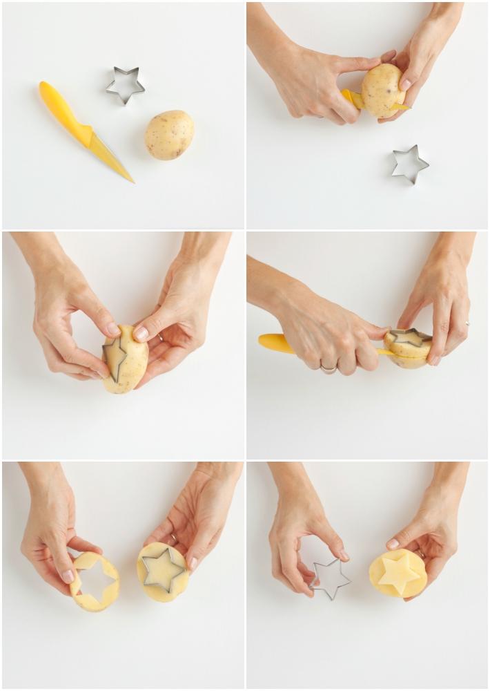 paso a paso cómo cortar una patata con cortador de galletas para hacer un sello y estampar una camiseta