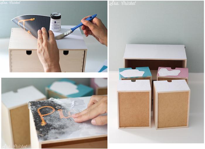 transferencia de imágenes en caja de madera
