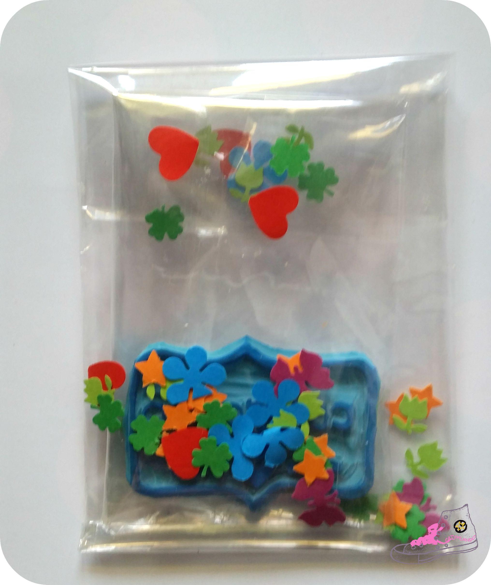 celofán y confetis
