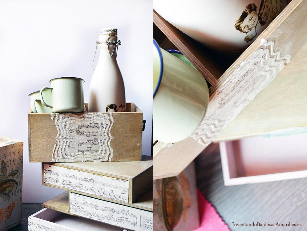 decorar cajones con pasta relieve y papel