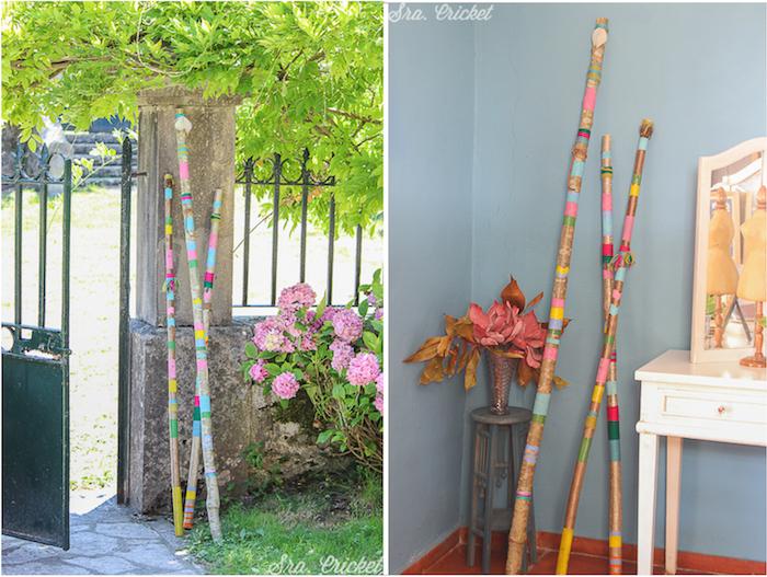 palos decorativos en interior y exterior