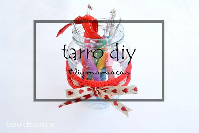 tarro DIY con ganchillo