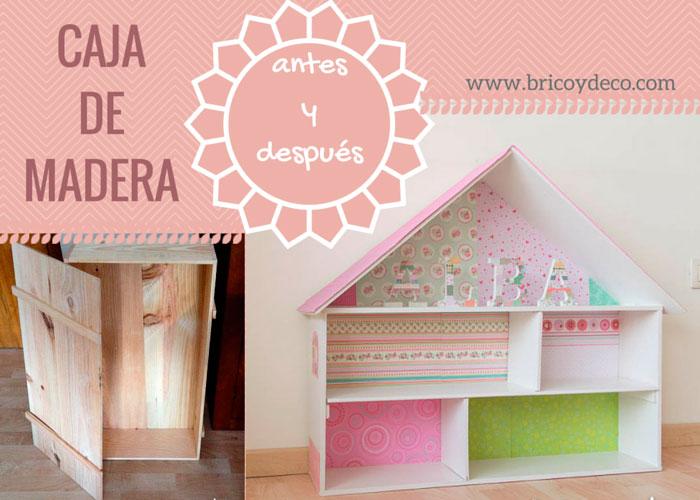 Librería y casa de muñecas hecha con una caja de madera - Handbox ...