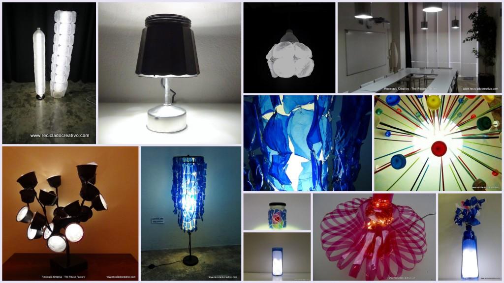 Recopilación de lámparas con material reciclado