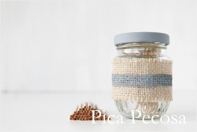 tarro-cristal-reciclado-palillero-diy-chalk-paint-arpillera