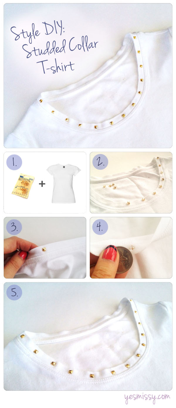 Style DIY: Studded Collar White T-shirt