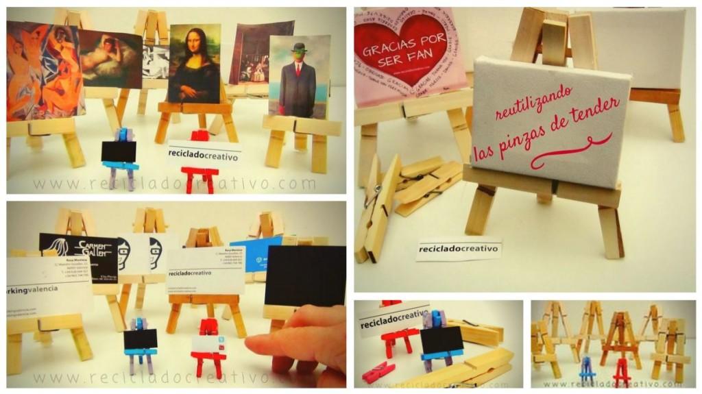 DIY Mini Caballete con pinzas de madera de la ropa
