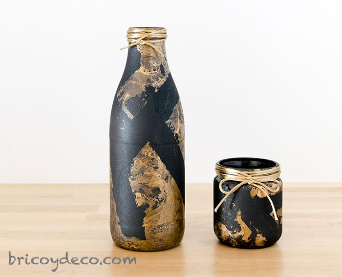 botellas de vidrio pintadas efecto mármol