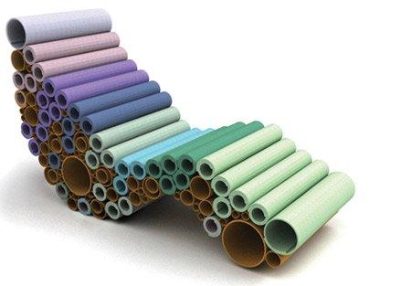 reciclar tubos de cartón en una chaise longue