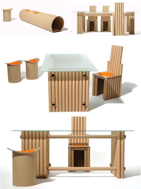 reciclar tubos de cartón en un comedor