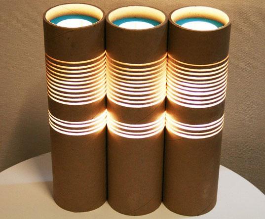reciclar tubos de cartón como lámparas
