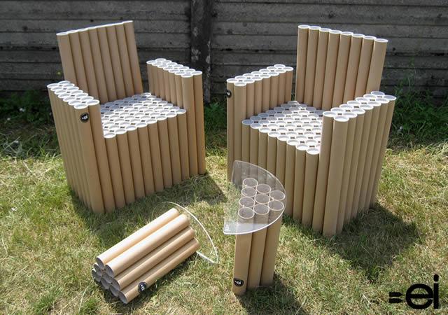 reciclar tubos de cartón como muebles para jardín