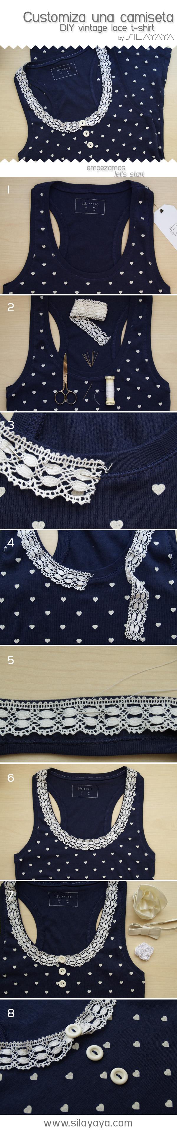tutorial camiseta puntilla / DIY lace t-shirt