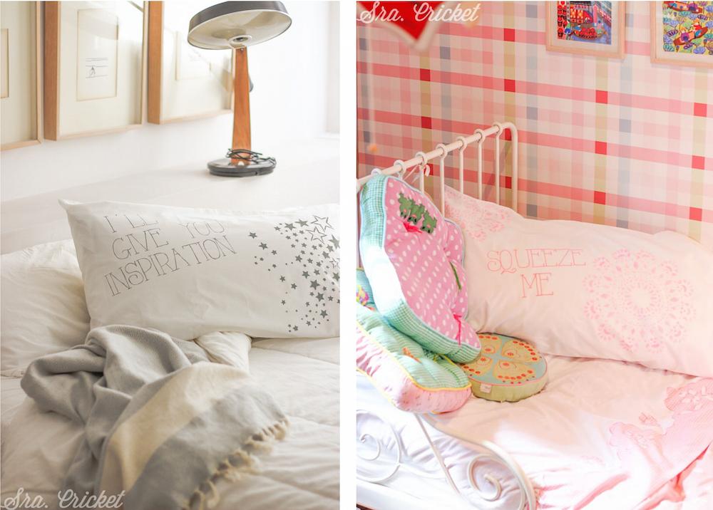 almohada con mensaje pintado handmade