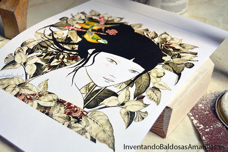 ilustracion transfer en madera