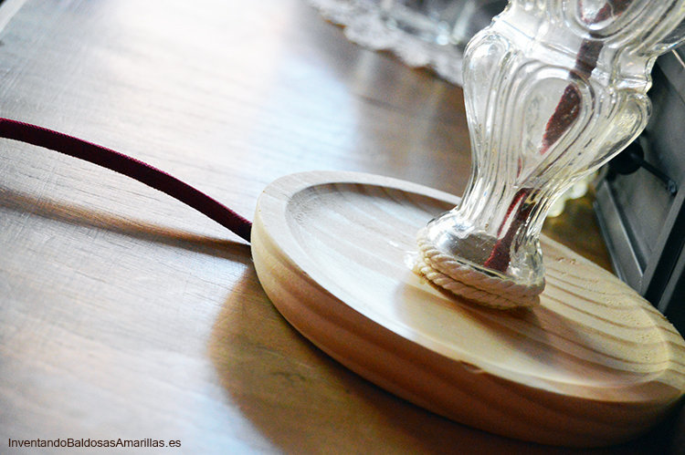 lampara vintage plato madera