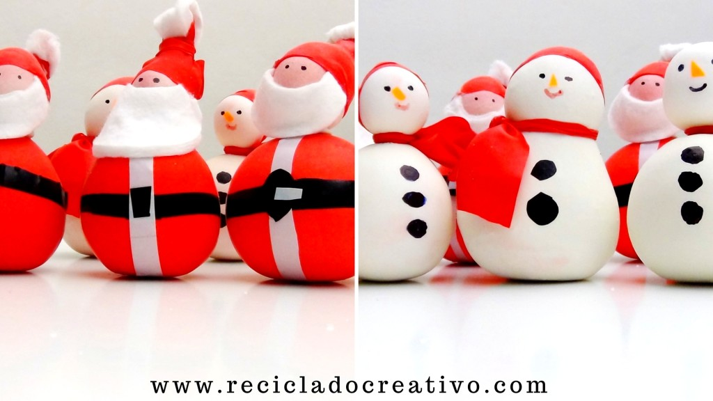Muñeco de nieve y Papá Noel - Snowman and Sant Nicolas - Manualidad con globos y sal. Balloons and salt.