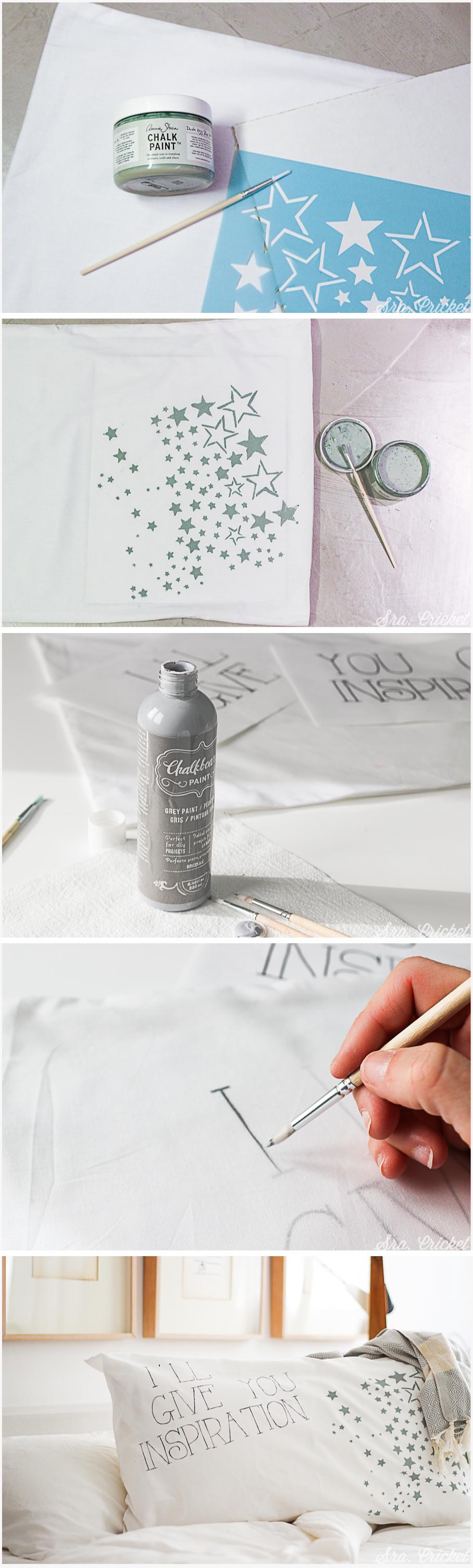 pintar tela con chalk paint funda de almohada