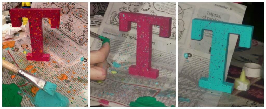 Salpicando pintura en las letras